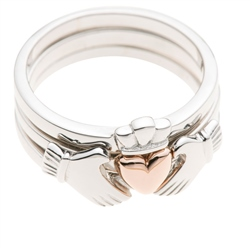 Galway Crystal Jewellery Three Part Claddagh Sterling Silver & Rose Gold Ring