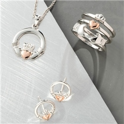 Galway Crystal Jewellery Claddagh Pendant Sterling Silver & Rose Gold