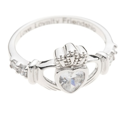 Galway Crystal Jewellery Claddagh Crystal Bezel Setting Sterling Silver Ring