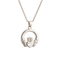 Galway Crystal Jewellery Claddagh Crystal Sterling Silver Pendant