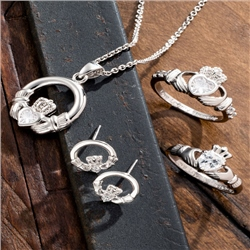 Galway Crystal Jewellery Claddagh Crystal Sterling Silver Earrings