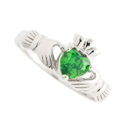 Galway Crystal Jewellery Green Crystal Claddagh Sterling Silver Ring