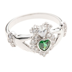 Galway Crystal Jewellery Green Crystal Sparkle Claddagh Sterling Silver Ring