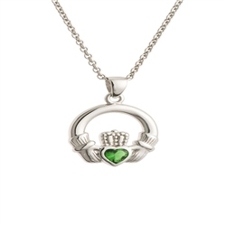 Galway Crystal Jewellery Green Crystal Claddagh Sterling Silver Pendant