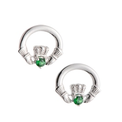 Galway Crystal Jewellery Green Crystal Claddagh Sterling Silver Earrings