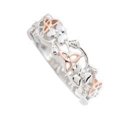 Jewellery By Galway Crystal - Trinity Knots & Shamrocks Rose Gold & Sterling Silver Ring