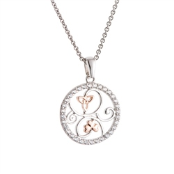 Galway Crystal Jewellery Trinity Knots & Shamrocks Rose Gold & Sterling Silver Pendant