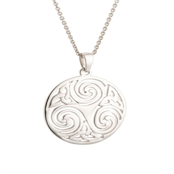 Galway Crystal Jewellery Celtic Swirl Sterling Silver Pendant