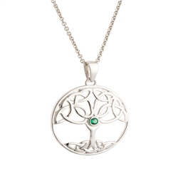 Jewellery By Galway Crystal - Tree of Life Green Crystal Sterling Silver Pendant
