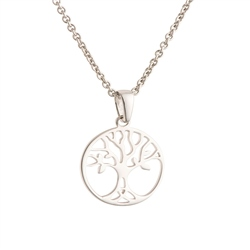 Galway Crystal Jewellery Tree of Life Crystal Sterling Silver Pendant - Small