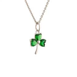 Galway Crystal Jewellery Shamrock Green Crystal Sterling Silver Pendant