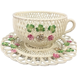 Belleek Classic Spring Shamrock Basketweave Cup & Saucer - *Belleek.com Exclusive*