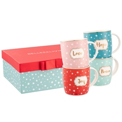 Belleek Living Love, Peace, Joy and Hope Mugs (Set of 4)