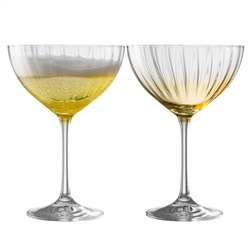 Galway Living Erne Cocktail/Champagne Saucer Set of 2 in Amber