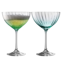 Galway Living Erne Cocktail/Champagne Saucer Set of 2 in Aqua