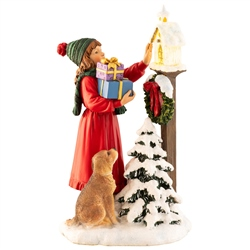 Aynsley Little Girl Feeding Robins Figurine LED