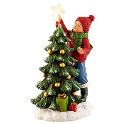 Aynsley Boy placing Angel on Tree Figurine LED