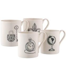 Belleek Studio Collection Etch Mugs Set of 4