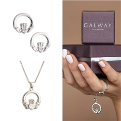 Galway Crystal Jewellery Claddagh Crystal Sterling Silver Set