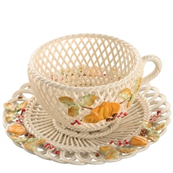 Belleek Classic Autumn Harvest Cup and Saucer Basket