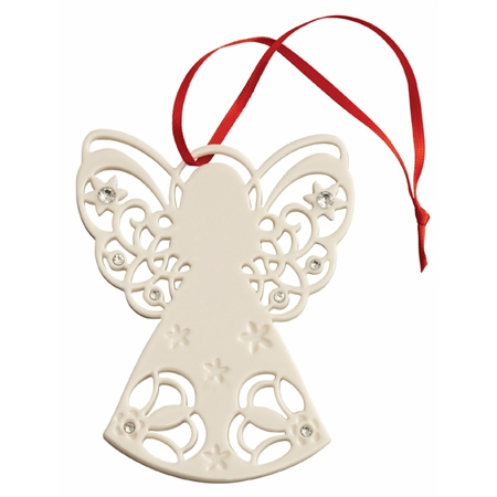 Belleek Living Angel with Gems Hanging Ornament Belleek Living - Angel with Gems Ornament - Click to view a larger image