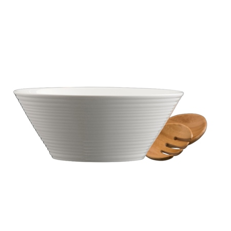 Belleek Living Ripple Salad Bowl and Servers  - Click to view a larger image