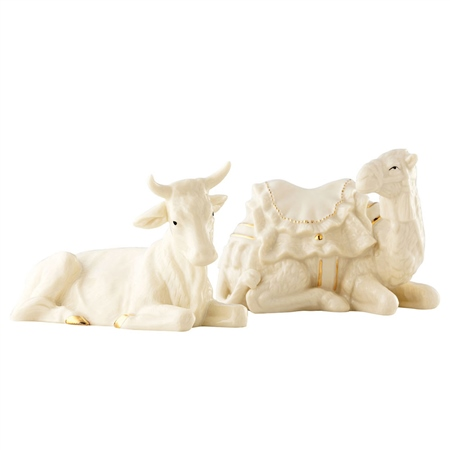 Belleek Living Manger Set - Ox and Camel  - Click to view a larger image