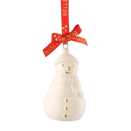 Belleek Living Mini Snowman Ornament  - Click to view a larger image