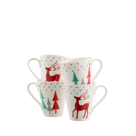 Aynsley Reindeer Mugs Set  - Click to view a larger image