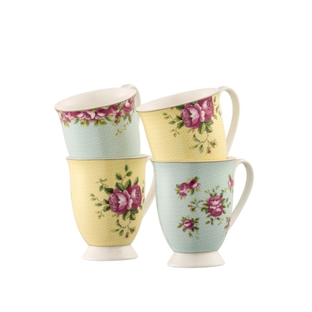 Aynsley Archive Rose Footed Mugs Set   - Click to view a larger image