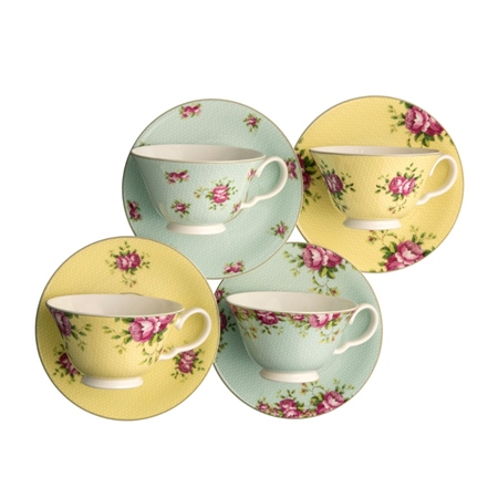 Aynsley Archive Rose Teacup and Saucer Set  - Click to view a larger image