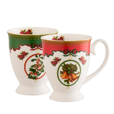 Aynsley Christmas Footed Mugs Set  - Click to view a larger image