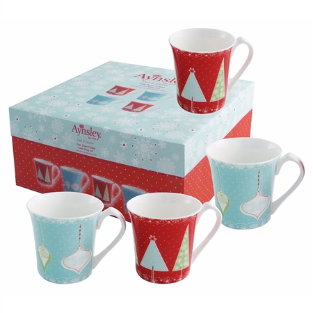 Aynsley Let it Snow Mug Set  - Click to view a larger image