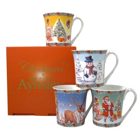 Aynsley Christmas Mugs Set  - Click to view a larger image