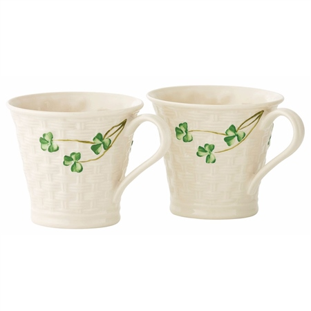 Belleek Classic Basketweave Mugs Set  - Click to view a larger image