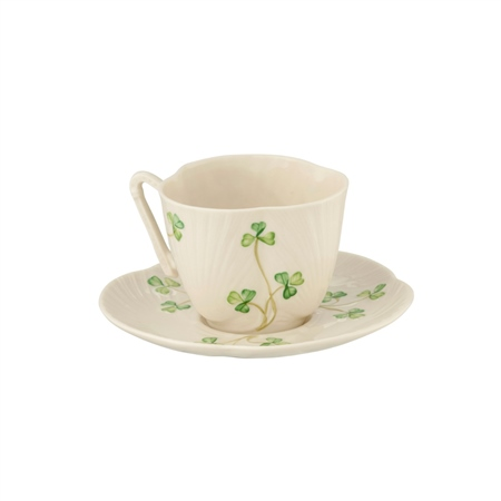 Belleek Classic Harp Shamrock Teacup and Saucer  - Click to view a larger image