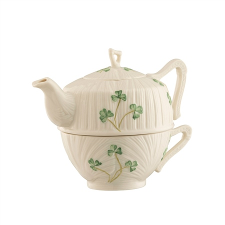 Belleek Classic Harp Shamrock Tea for One  - Click to view a larger image