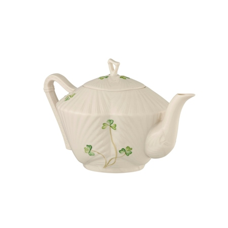 Belleek Classic HARP SHAMROCK TEAPOT  - Click to view a larger image
