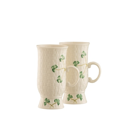 Belleek Classic Irish Coffee Mug Pair  - Click to view a larger image