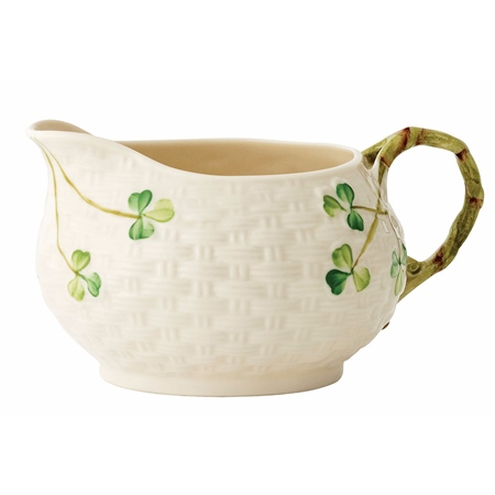 Belleek Classic Shamrock Cream Jug Handcrafted Belleek Classic Shamrock Tableware - Click to view a larger image