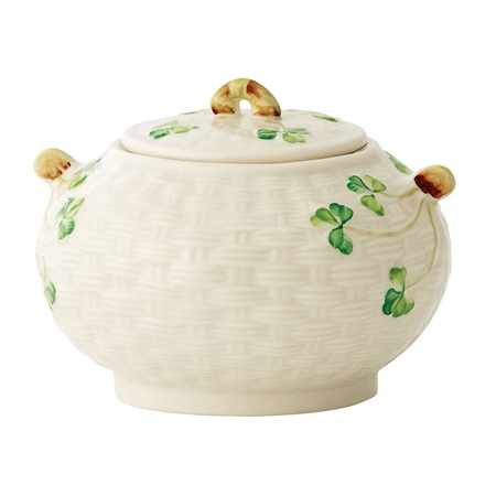Belleek Classic Shamrock Sugar Bowl  - Click to view a larger image