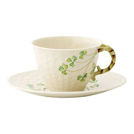 Belleek Classic Shamrock Teacup and Saucer  - Click to view a larger image