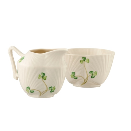 Belleek Classic HARP SHAMROCK SUGAR & CREAM SET  - Click to view a larger image