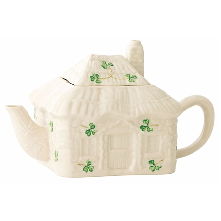 Belleek Classic IRISH COTTAGE TEAPOT  - Click to view a larger image