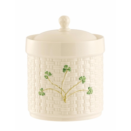 Belleek Classic SHAMROCK CANISTER  - Click to view a larger image