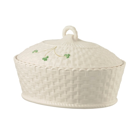Belleek Classic SHAMROCK OVAL COVERED DISH  - Click to view a larger image