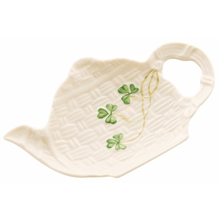 Belleek Classic Shamrock Spoon and Teabag Rest  - Click to view a larger image