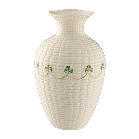 """Belleek Classic Shamrock 6"""" Braid Vase  - Click to view a larger image"""