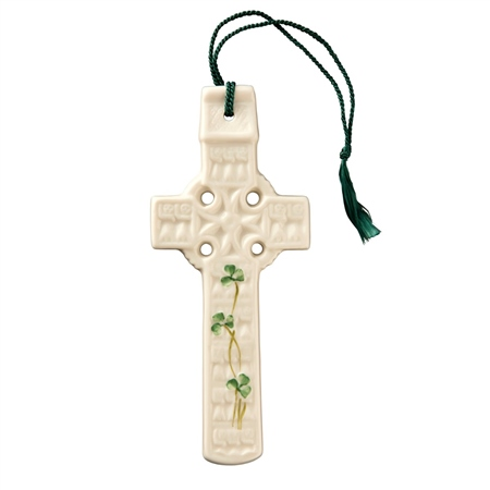 Belleek Classic CELTIC SHAMROCK CROSS  - Click to view a larger image