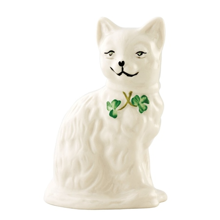 Belleek Classic Quizzical Cat  - Click to view a larger image